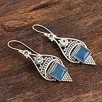 Chalcedony and blue topaz dangle earrings, 'Oceans of Blue' - Chalcedony Cabochon and Sterling Silver Dangle Earrings