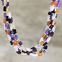 Multi-gemstone torsade necklace, 'Vivacious Beauty' - Multi-Gemstone Torsade Necklace from India