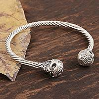 Sterling silver cuff bracelet, 'Twin Skulls' - Artisan Crafted Skull Cuff Bracelet from India