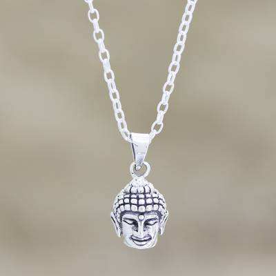 Sterling silver pendant necklace, 'Calm Buddha' - Calm Buddha Pendant Necklace in Sterling Silver