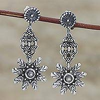 Sterling silver dangle earrings, 'Jag Mandir Beauty' - Ornate Sterling Silver Dangle Earrings from India
