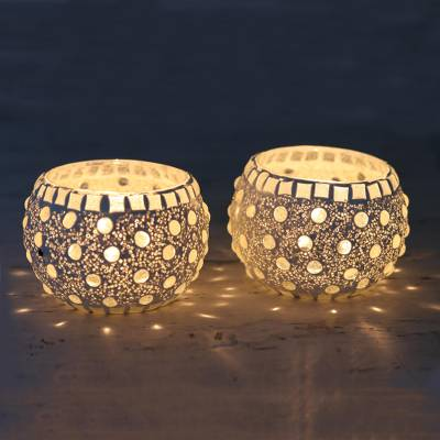 Glass mosaic tealight candleholders, 'Starlit Night' (pair) - Handmade Tealight Candleholders with Glass Mosaic (Pair)