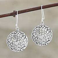 Sterling silver dangle earrings, 'Ancient Relic' - Artisan Crafted Sterling Silver Earrings from India