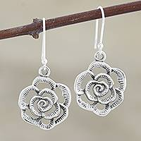 Sterling silver dangle earrings, 'Jaipuri Rose' - Rose Dangle Earrings Handmade in India