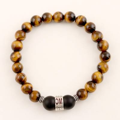 Tiger's eye and onyx unity bracelet, 'Meditate Together' - Tiger's Eye and Onyx Unity Bracelet with Sterling Accents