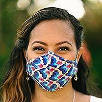 Cotton face masks, 'Vibrant Quartet' (set of 4) - 4 Cotton Print 2-Layer Elastic Loop Face Masks from India