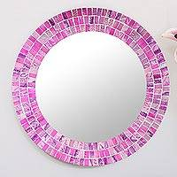 Small glass mosaic wall mirror, 'Orchid Delight' - Hand Crafted Small Fuchsia Glass Mosaic Wall Mirror