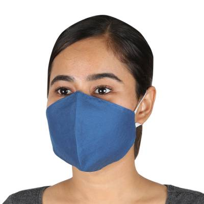 Cotton face masks 'Business Blue' (pair) - 2 Steel Blue Cotton Double-Layer Ear Loop Face Masks