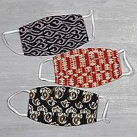 Reversible cotton face masks, 'Block Print Arts' (set of 3) - 3 Reversible Block Print 2-Layer Pleated Cotton Face Masks
