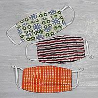 Reversible cotton face masks, 'Block Print Magic' (set of 3) - Set of 3 Reversible Block Print 2-Layer Pleated Cotton Masks
