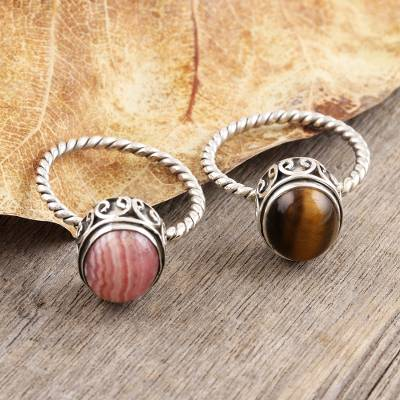 Rhodochrosite and tiger's eye rings, 'Hearts in Harmony' (pair) - Pair of Silver Rings with Rhodochrosite and Tiger's Eye