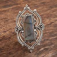 Labradorite cocktail ring, 'Forever Majestic' - Labradorite and Sterling Silver Cocktail Ring