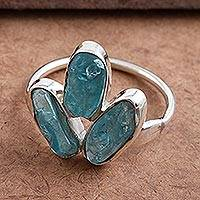 Apatite cocktail ring, 'Apatite for Friendship' - Unique Apatite Ring in Sterling Silver