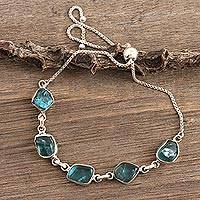 Sterling Silver and Apatite link bracelet, 'Nuggets' - Freeform Blue Apatite Link Bracelet