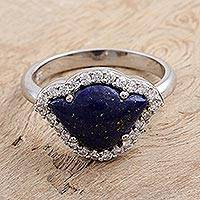 Lapis lazuli cocktail ring, 'Indigo Lotus' - Lapis Lazuli and Cubic Zirconia Cocktail Ring