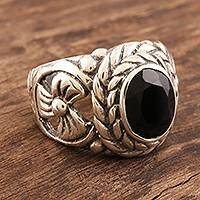 Onyx cocktail ring, 'Midnight Appeal' - Sterling Silver and Black Onyx Cocktail Ring
