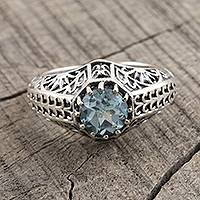 Blue topaz single stone ring, 'Crown of Tendrils' - Sterling Silver and Faceted Blue Topaz Ring