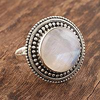 Rainbow moonstone cocktail ring, 'Moonbeams in the Mist' - Rainbow Moonstone Cabochon Cocktail Ring