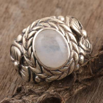 Rainbow moonstone cocktail ring, 'Misty Appeal' - Sterling Silver and Rainbow Moonstone Cocktail Ring