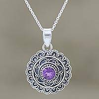 Amethyst pendant necklace, 'Your Majesty' - Sterling Silver Amethyst Medallion Pendant Necklace