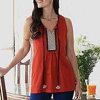 Cotton sleeveless top, 'Wave Hill' - Paprika and Black Sleeveless Cotton Tank Top