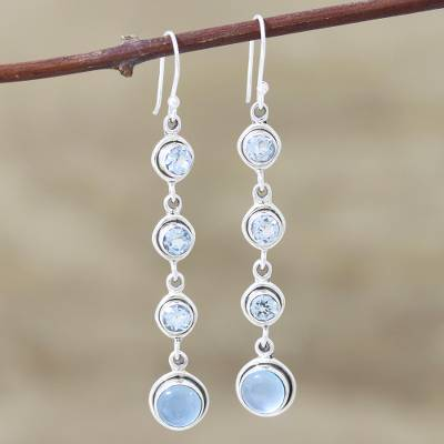 Blue topaz and chalcedony dangle earrings, 'Blue Showers' - Blue Topaz and Chalcedony Earrings from India