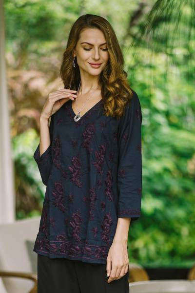 Embroidered cotton tunic, 'Lucknow Blossoms' - Hand Embroidered Navy Tunic with Maroon Flowers