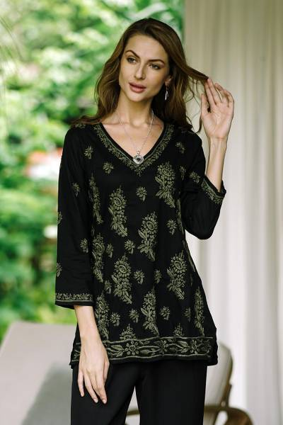 Embroidered cotton tunic, 'Midnight in the Garden' - Black Cotton Tunic with Hand Embroidered Details