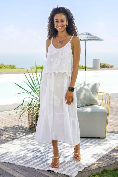 Embroidered cotton sundress, 'Summer Paisley in White' - White Embroidered Cotton Sundress with Spaghetti Straps