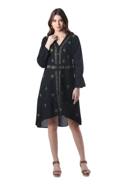 Embroidered cotton shirtdress, 'Lucknow Bouquet' - Cotton High-Low Shirtdress with Embroidery