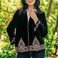 Embroidered velvet jacket, 'Midnight Glamour' - Black Velvet Embroidered Zip-Front Jacket
