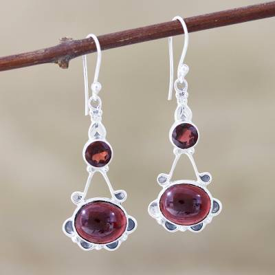 Garnet dangle earrings, 'Blossoming Garnet' - Garnet Blossom Sterling Silver Dangle Earrings
