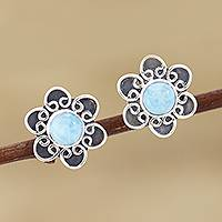 Larimar button earrings, 'Blossom in Blue' - Larimar and Sterling Silver Flower Button Earrings