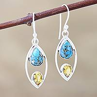 Citrine dangle earrings, 'Happy Union - Citrine and Composite Turquoise Dangle Earrings