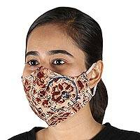 Cotton face masks, 'Floral Joy' (set of 3) - Reusable Contoured Cotton Face Masks Set of 3