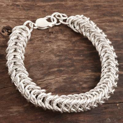 Mens sterling silver link bracelet, Intertwining Circles