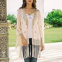 Beaded crepe jacket, 'Bohemian Blush' - Beaded and Sequined Crepe Jacket from India