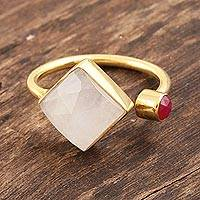 Gold plated rainbow moonstone and chalcedony wrap ring, 'Appealing Fusion' - Rainbow Moonstone and Pink Chalcedony Cocktail Wrap Ring
