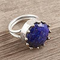 Lapis lazuli cocktail ring, 'Royalty in Blue' - Lapis Lazuli and Sterling Silver Cocktail Ring