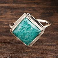 Amazonite cocktail ring, 'Blissfully Blue' - Square Amazonite Sterling Silver Cocktail Ring