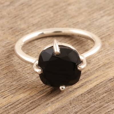 Onyx solitaire ring, 'Gorgeous Midnight' - Faceted Black Onyx Sterling Silver Cocktail Ring