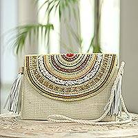 Beaded jute shoulder bag, 'Casual Glam' - Leather-Accented Beaded Jute Shoulder Bag