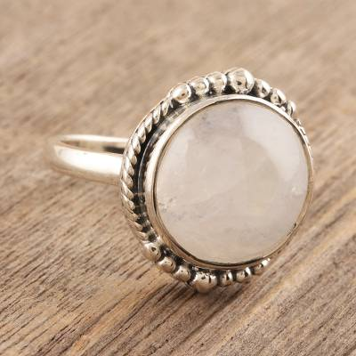 Rainbow moonstone cocktail ring, 'Moon Appeal' - Rainbow Moonstone Sterling Silver Cocktail Ring