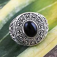 Onyx cocktail ring, 'Majestic at Midnight' - Sterling Silver Black Onyx Dome Ring