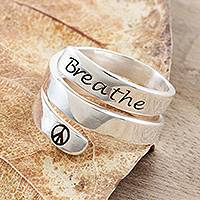 Sterling silver wrap ring, 'Breathe in Peace' - Sterling Silver Wrap Ring with Breathe Inscription