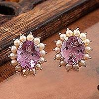 Amethyst and cultured pearl button earrings, 'Lilac Facets' - Purple Amethyst Freshwater Cultured Pearl Button Earrings