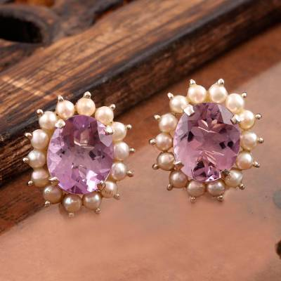 Amethyst and cultured pearl button earrings, Lilac Facets