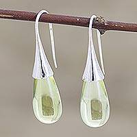 Lemon quartz drop earrings, 'Citrus Serenity' - Lemon Quartz Sterling Silver Drop Earrings