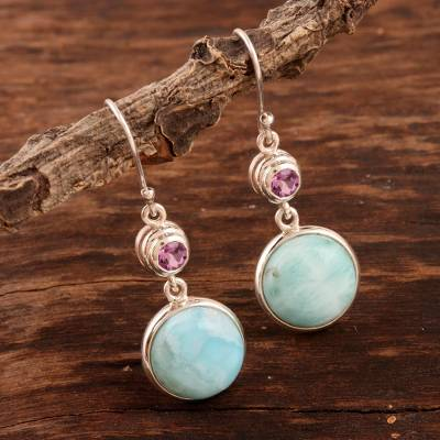 Larimar and amethyst dangle earrings, 'Silvery Moon' - Larimar Cabochon and Faceted Amethyst Dangle Earrings