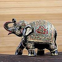 Wood statuette, 'Royal Elegance' - Hand Painted Royal Elephant Statuette